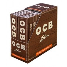 OCB Virgin Unbleached King Size Slim with Tips